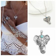 Fashion Charms Silver Wild Elephant Pendant Necklace Jewelry Women Long Chains