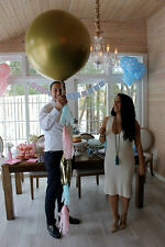 "Giant 36"" Gender Reveal Balloon in GOLD!!! with tassels & confetti"