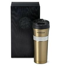 Starbucks Limited Edition Gold Swarovski Tumbler, 16 fl oz New In Black Wood Box