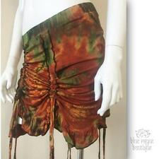 BoHo Mudmee Tie Dye Cinch Up Burlesque Mini Music Festival Dance Over Skirt M4