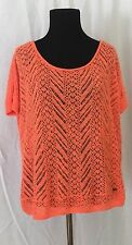 HOLLISTER NEON ORANGE CROCHET SWEATER SIZE XS/S