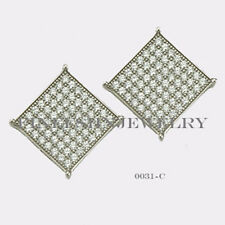 Sterling Silver 925 Square Stud Screwback Earrings with Clear CZ (10.8mm) #0031C