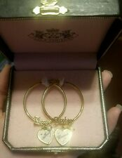 "Juicy Couture ""LOVE JUICY"" Gold Tone Charm Hoop Earrings/Pearl/Crystals/Heart"