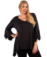 NEW! WOMEN'S PLUS SIZE CLOTHING CHARCOAL  BLOUSE WITH BELL SLEEVE DESIGN 4X