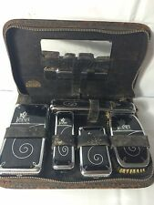 Vintage Mens Black Leather Travel Toiletry Grooming Set Carrying Case