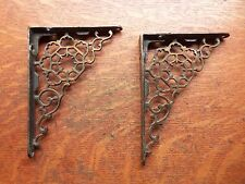 Two Antique Fancy Victorian Filigreed Iron Shelf Brackets - Original Lacquer