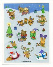 Vintage Hallmark Sticker, CHRISTMAS FUN ANIMAL CRITTERS, 1 Sheet, Scrapbooking