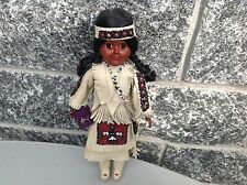 Vintage Native American Indian Squaw Doll Hard Plastic &Leather Dress  With Baby