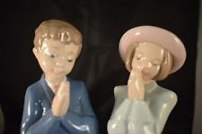 NAO HANDMADE BY LLADRO DAISA 1993 PRAYING BOY & GIRL FIGURINES WITH STANDS