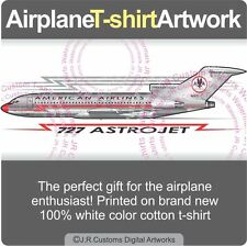 T-shirt for Vintage American Airlines Astrojet Boeing 727 Airplane Fans