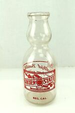 Golden State Milk vintage Glass Dairy Products Milk Bottle 1 Qt Duraglass