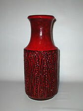 "Carstens Pottery Vase 7650-30 Red Black Europa 12"" West German Fat Lava 1970s"
