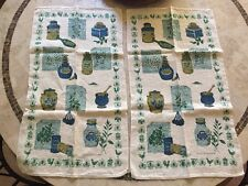 Vintage Kay Dee Pure Linen Tea Towel Kitchen Spices Sage Rosemary Turquoise Gold