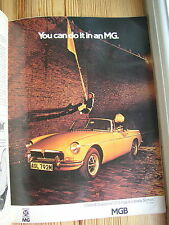 Vtg MG car advert 1974 Yellow MGB Sport Open Soft top?Roadster Escape 1970s 70s