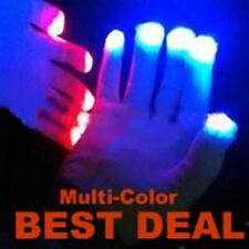 Set of LED MultiColor Lighted White GLOW GLOVES Mitts Finger Lights RAVE PARTY