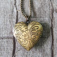 Elegant Flower Heart Love Vintage Brass Bronze Picture Locket Pendant Necklace