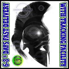 Greek Corinthian Helmet with Black Plume, Medieval Gladiator Knight Spartan Helm