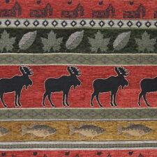MOOSE FISH CABIN UPHOLSTERY FABRIC LODGE LEAF CHENILLE RUSTIC WILDLIFE