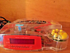Vintage EB See Through Transparent Neon TELEPHONE PHONE / ALARM CLOCK FREE SHIP