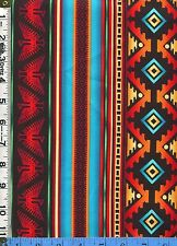 Fabric Timeless SOUTHWEST INDIAN PRINTED BLANKET STRIPE RED TURQUOISE BTHY