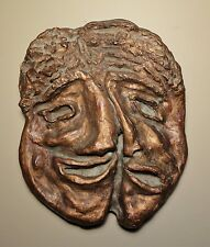 Vintage Mid Century Greek Tragedy Comedy Face Abstract Clay Sculpture Signed 11""