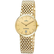 Edox Men's 27021 37J DI Swiss Le Genevez Ultra-slim Goldtone Date Watch