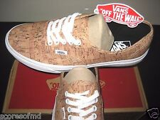 Vans Authentic Mens Cork Tan True White canvas boat shoes Size 11 VN-00AIGYT NWT