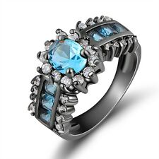 Band Jewellry Size 8 Aquamarine 18K Black Gold Filled Engagement Ring For Women