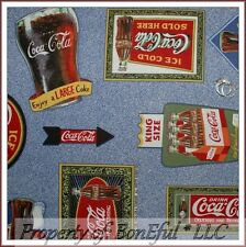 BonEful Fabric Cotton Quilt VTG Coca Cola Coke L Logo Drink Bar Art Food Antique