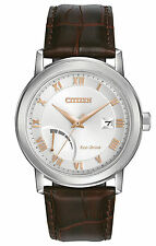 NEW Citizen AW7020-00A Men's Eco Drive Power Reserve Leather Band Analog Watch