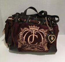 Juicy Couture Bag Brown Espresso Velour Purse Daydreamer Tote Shoulder Large