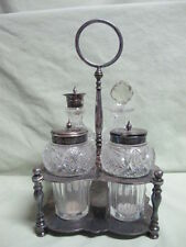 Vintage English Victorian Silver Plate 4 Bottle Condinment Cruet Set