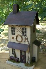 Primitive Folk Art Worn Taupe Farmhouse Saltbox ~ Functional Birdhouse