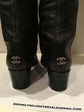 Chanel Black Over knee Patent Leather Cap Toe Block Heel Boots Size 37 On Trend