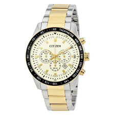 Citizen Cream Dial Mens Two Tone Chronograph Watch AN8076-57P