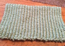 Green Hand knitted Rico pom pom blanket approx size 22 inch x 34 inch