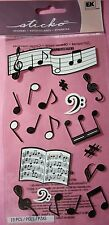 NEW 19 pc SILHOUETTE MUSICAL NOTES Music Treble Bass Half Note  STICKO Stickers