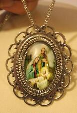 Handsome Loop Rim Holy Family Jesus Nativity Silvertone Pendant Necklace Brooch