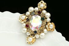 victorian style colors crystal AB rhinestone white pearl golden brooch pin H03