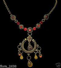 Collier ethnique Axelle création, bronze, strass rouge, orange bijoux fantaisie