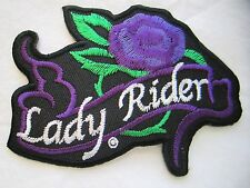 "LADY RIDER PURPLE NEW 3-1/2"" X 2-1/2"" EMBROIDERED MOTORCYCLE PATCH SEWN/IRON ON"