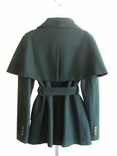 New Designer Steve Madden Faux Fur Collar Hunter Green Wool Capelet/Coat X Large