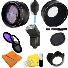 HD WIDE ANGLE LENS + TELEPHOTO ZOOM LENS + FLASH +FILTERS FOR NIKON D3000 D3100