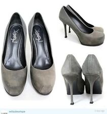 YSL YVES SAINT LAURENT TRIBTOO GREY EMBOSSED LEATHER PUMPS HEELS 38.5 uk 5.5