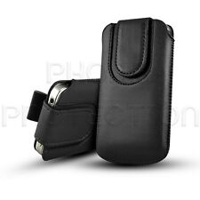 MAGNET BUTTON LEATHER PULL TAB SKIN CASE COVER POUCH FITS VARIOUS HTC PHONES