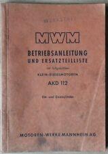 MWM Klein-Dieslemotoren AKD 112 Betriebsanleitung und Ersatzteilliste