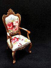 DOLLHOUSE MINIATURE WOODEN WALNUT HAND-PAINTED  VANITY ARM CHAIR  ...