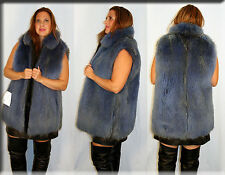 New Demin Blue Sheared Finnish Raccoon Fur Vest Size Large 10 12 L