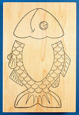 Fish Sack Flap Template Rubber Stamp - for Paper Bag, with Window