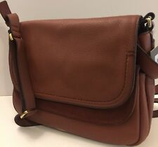 FOSSIL PEYTON LG DBL DOUBLE FLAP  Xbody Bag ZB7101200 BROWN,NWT